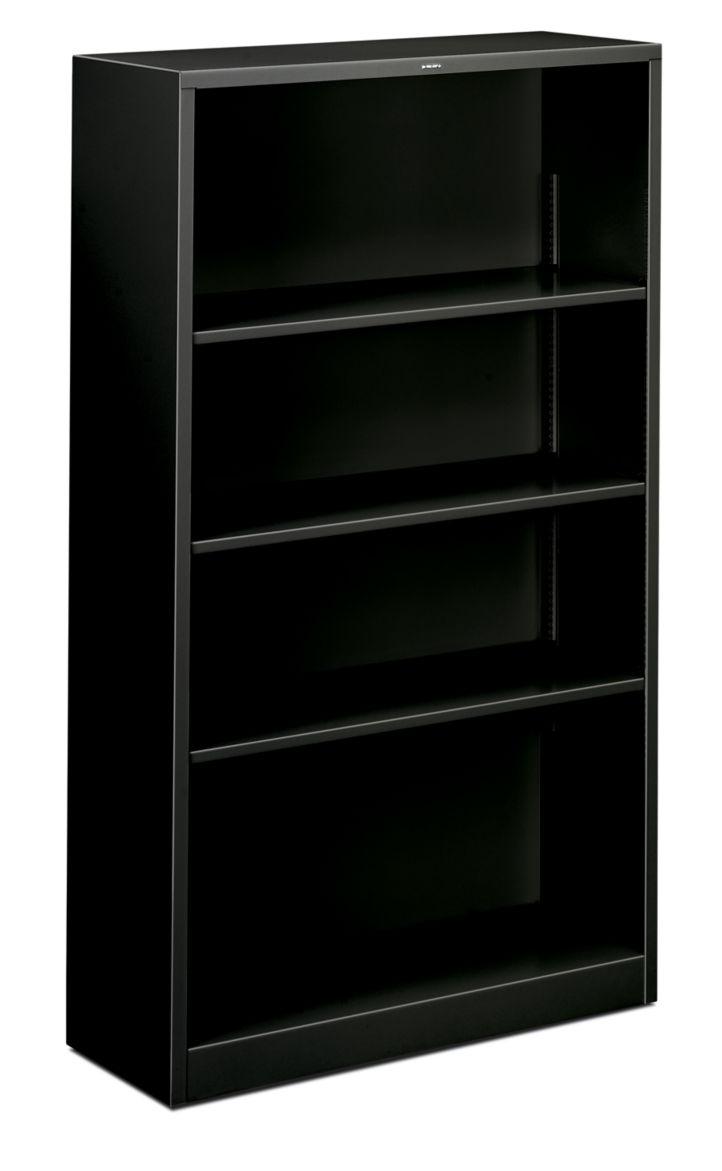 HON Brigade 4-Shelf Bookcase Black Front Side View HS60ABC.P