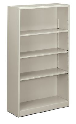 HON Brigade 4-Shelf Bookcase Light Gray Front Side View HS60ABC.Q