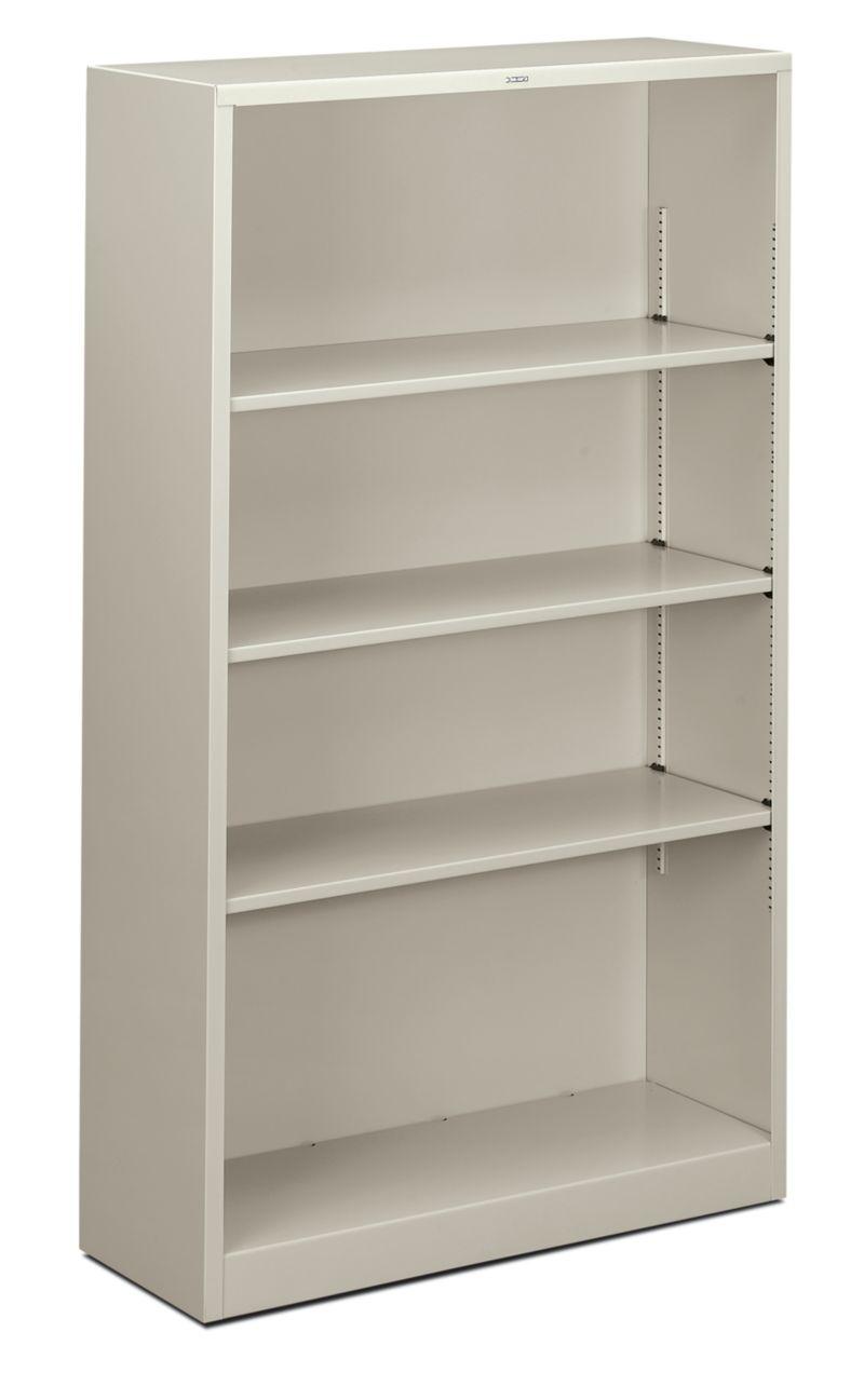 HON Brigade 4-Shelf Bookcase Light Gray Front Side View HS60ABC.Q