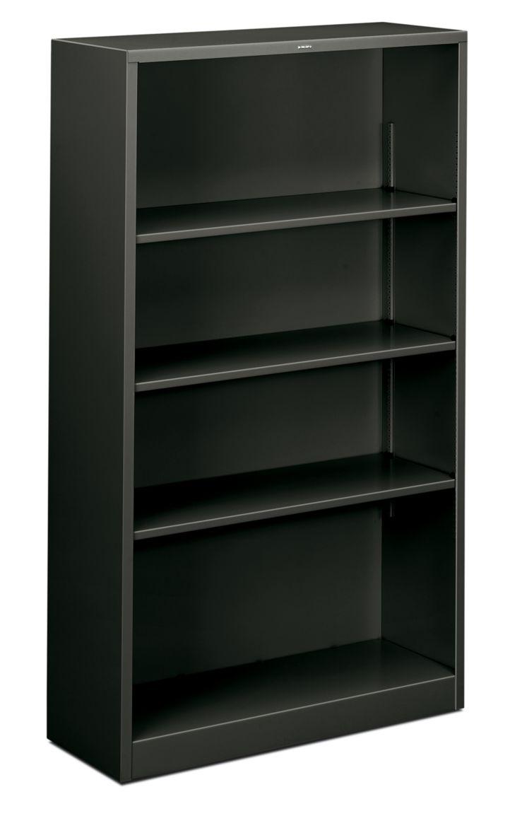 HON Brigade 4-Shelf Bookcase Charcoal Front Side View HS60ABC.S