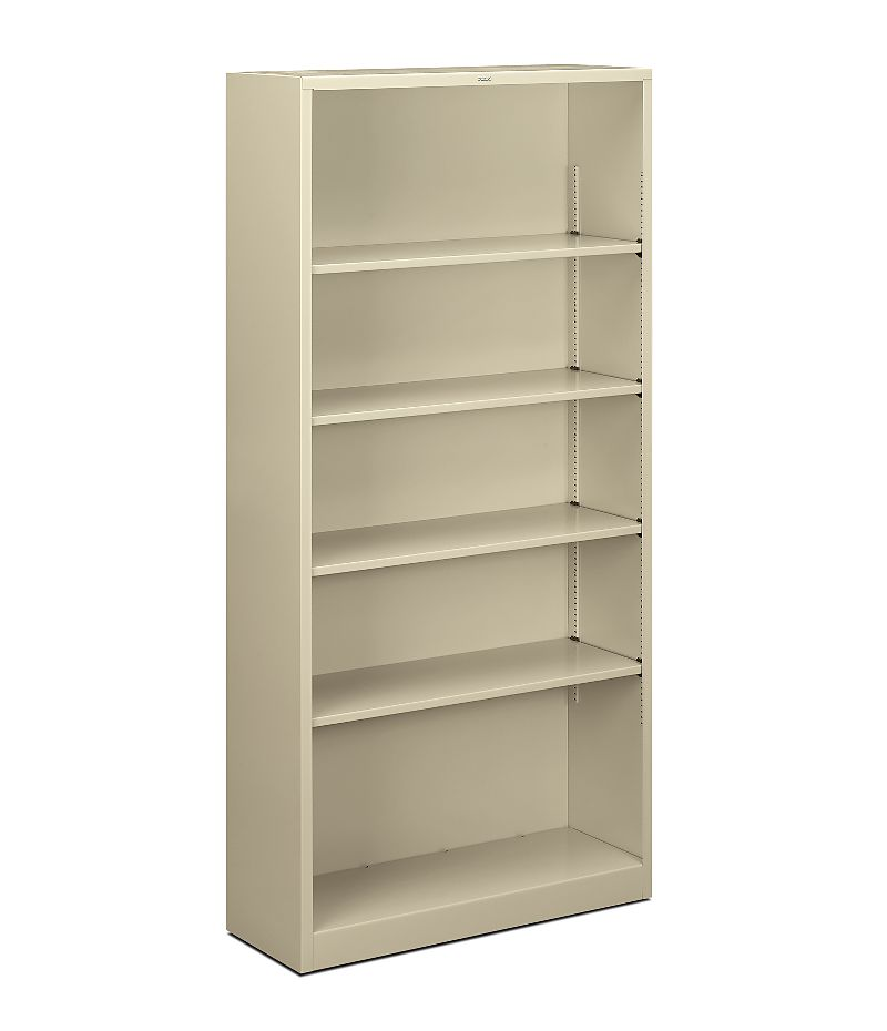HON Brigade Bookcase 5-Shelf Steel Metal Bookcase White Front Side View HS72ABC.L