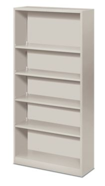 HON Brigade Bookcase 5-Shelf Steel Metal Bookcase White Front Side View HS72ABC.Q