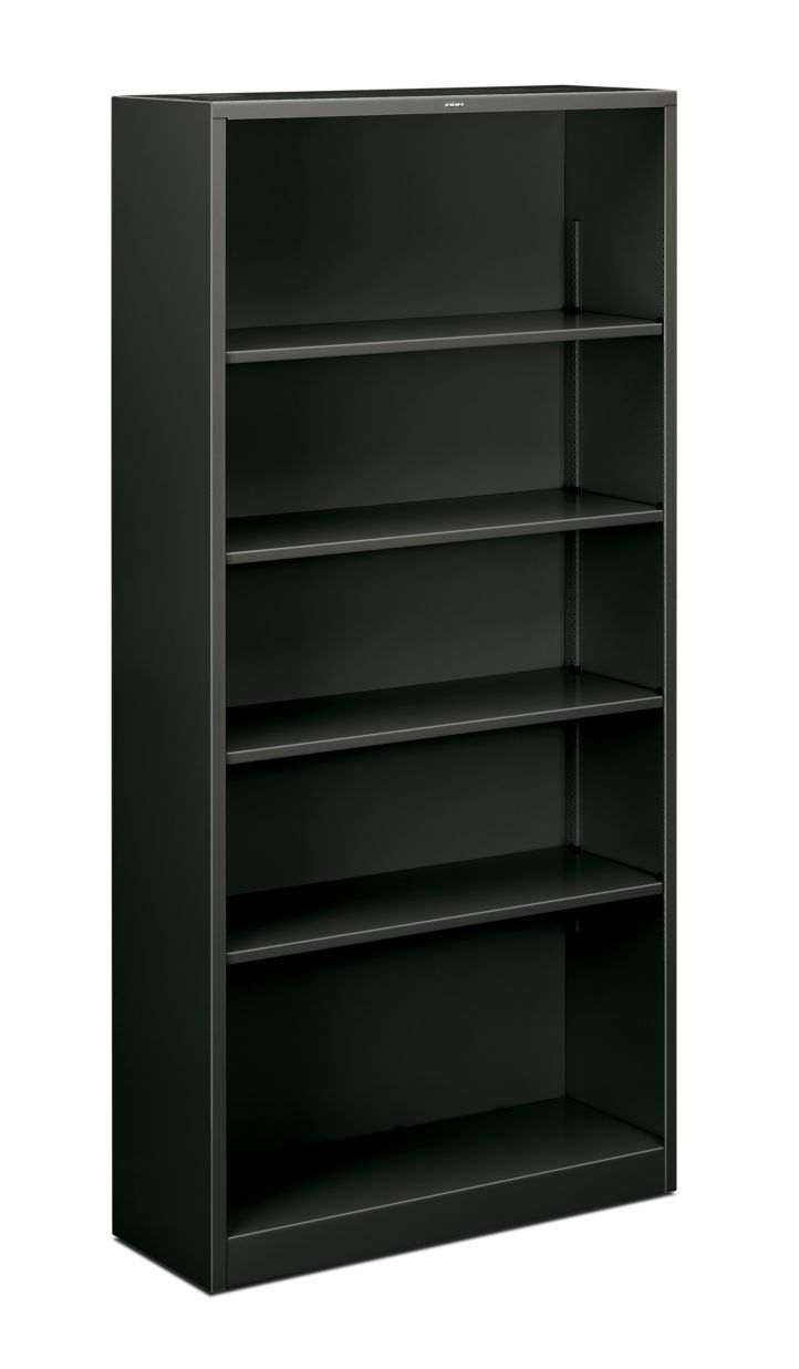 HON Brigade Bookcase 5-Shelf Steel Metal Bookcase Black Front Side View HS72ABC.S