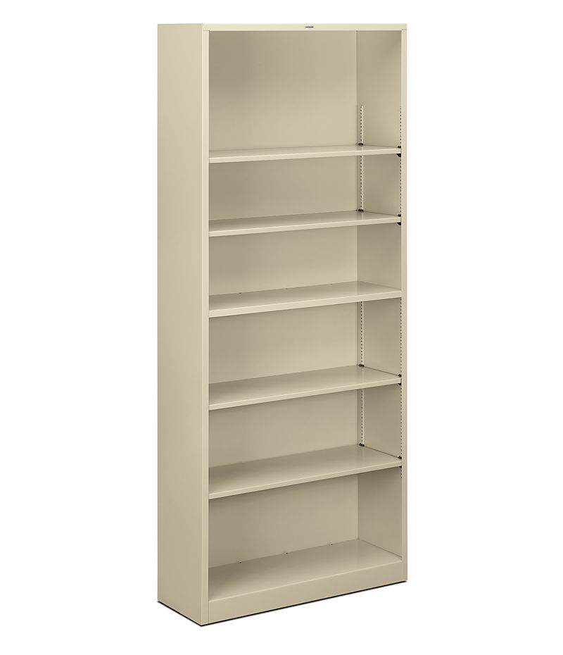 HON Brigade 6-Shelf Bookcase Putty Front Side View HS82ABC.L