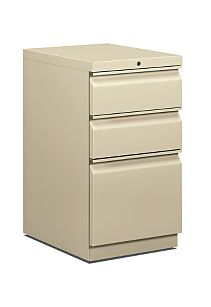 HON Brigade Pedestals 3 Drawer Mobile Pedestal Light Brown Front Side View H33720R.L.L