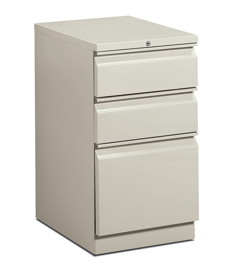 HON Brigade Pedestals 3 Drawer Mobile Pedestal White Front Side View H33720R.L.Q