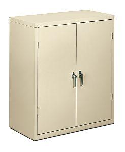 HON Brigade 2-Shelf Storage Cabinet Putty Front Side View HSC1842.L.L