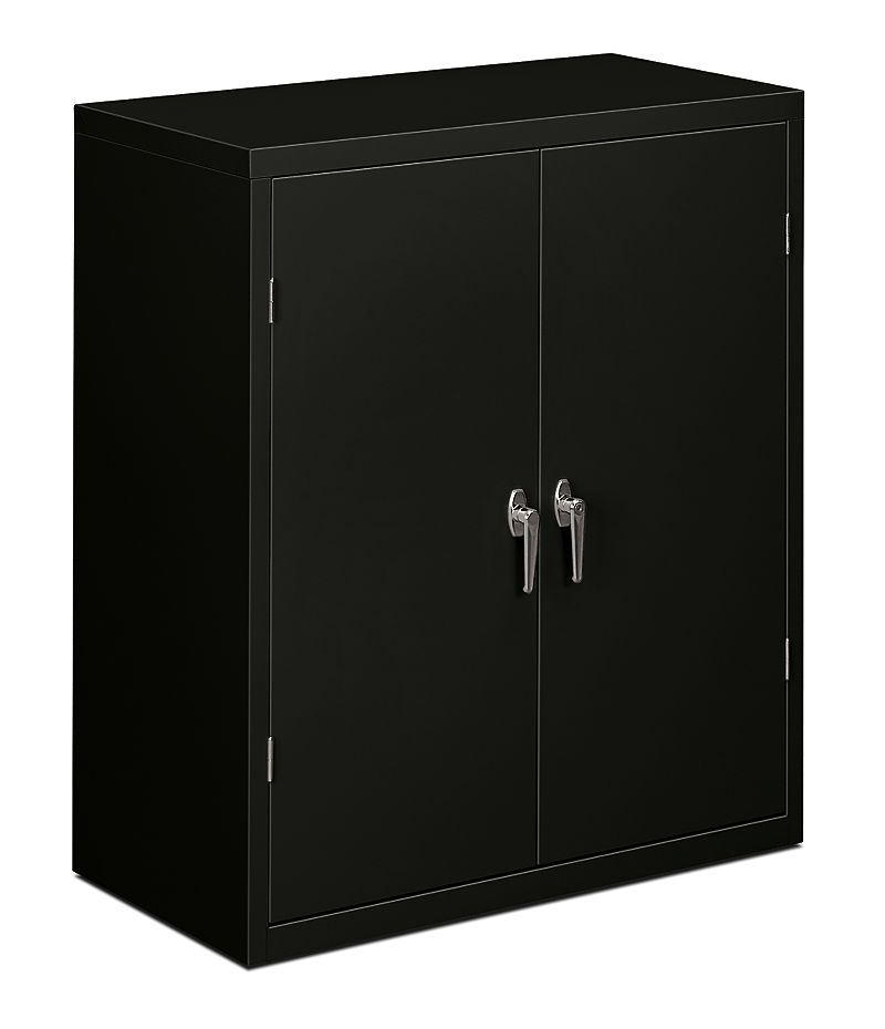 HON Brigade 2-Shelf Storage Cabinet Black Front Side View HSC1842.L.P