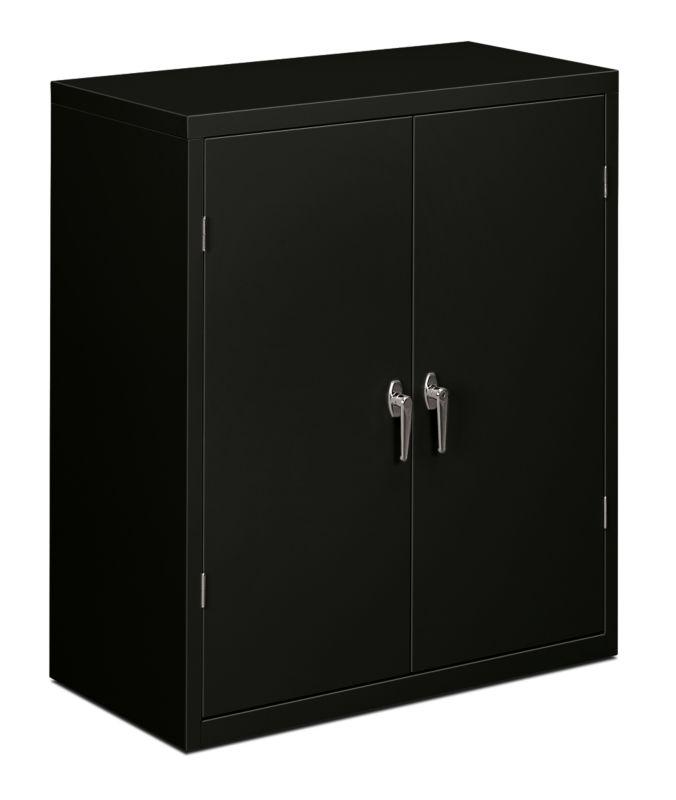 HON Brigade 2 Shelf Storage Cabinet Black Front Side View HSC1842.L.P