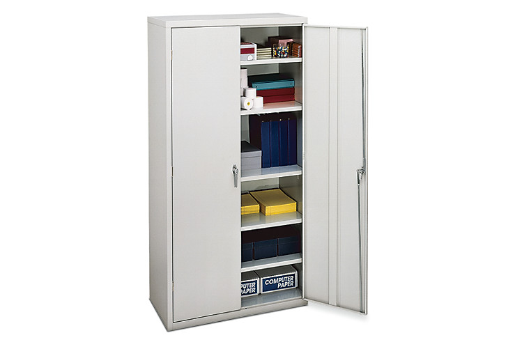 HON Brigade 5-Shelf Storage Cabinet White Front Side View HSC1872.L.Q