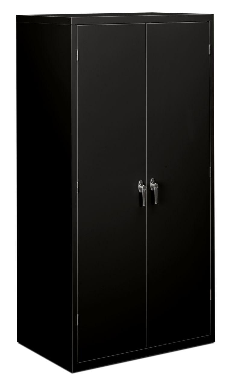 HON Brigade 5-Shelf Storage Cabinet Black Front Side View HSC2472.L.P