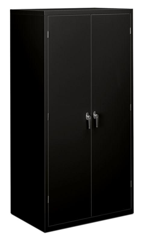 HON Brigade 5 Shelf Storage Cabinet Black Front Side View HSC2472.L.P