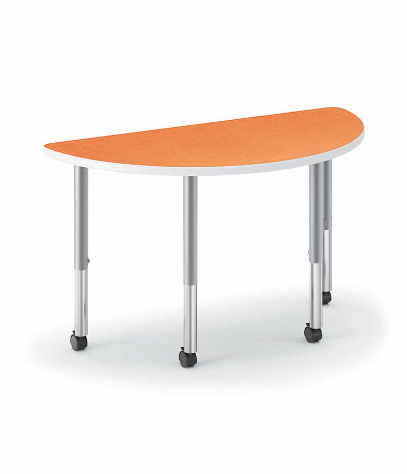 hon build half round table patterned tangerine color
