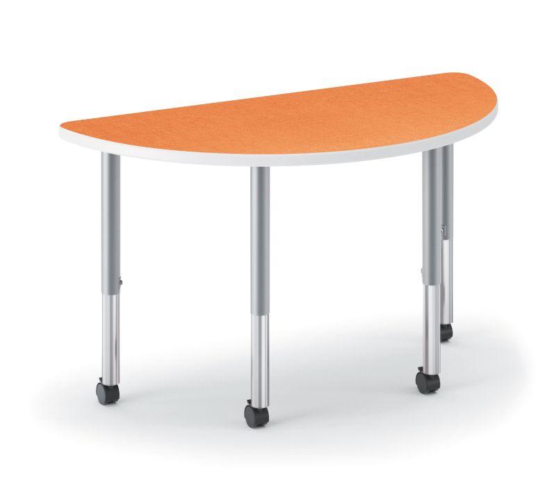 HON Build Half Round Table Patterned Tangerine Color HESH-3060E-4L.N.LTG1.K.T1