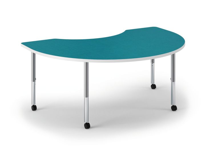 HON Build Arc Shape Table Patterned Blue Agave Color Front Side View HESKD-7248E-4L.N.LBA1.WHIT.T1