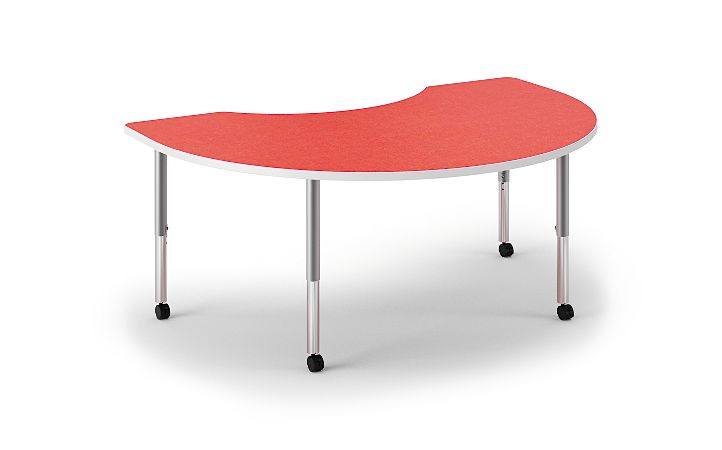 HON Build Arc Shape Table Patterned Pomegranate Color Front Side View HESKD-7248E-4L.N.LBG1.WHIT.T1