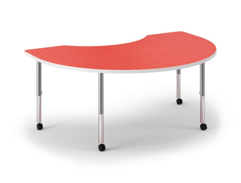 HON Build Arc Shape Table Patterned Pomegranate Color Front Side View HESKD-7248E-4L.N.LBG1.WHIT.T1