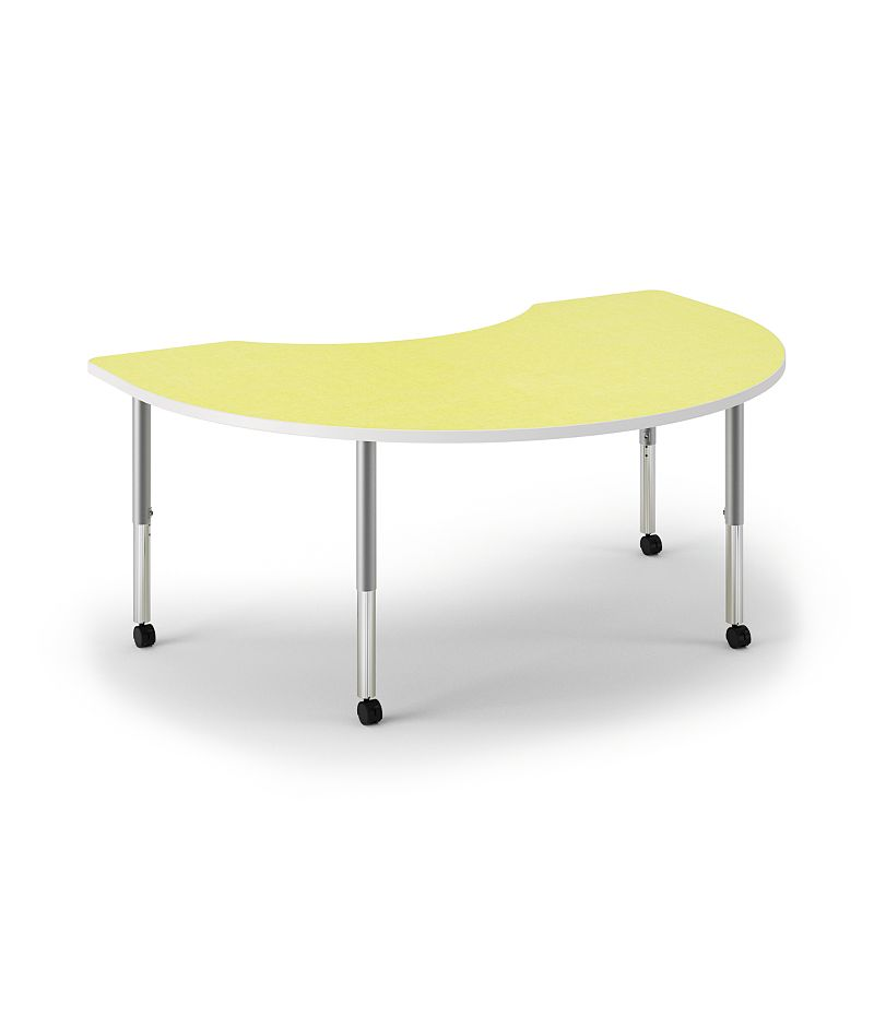 HON Build Arc Shape Table Patterned Kiwi Front Side View HESKD-7248E-4L.N.LKW1.WHIT.T1