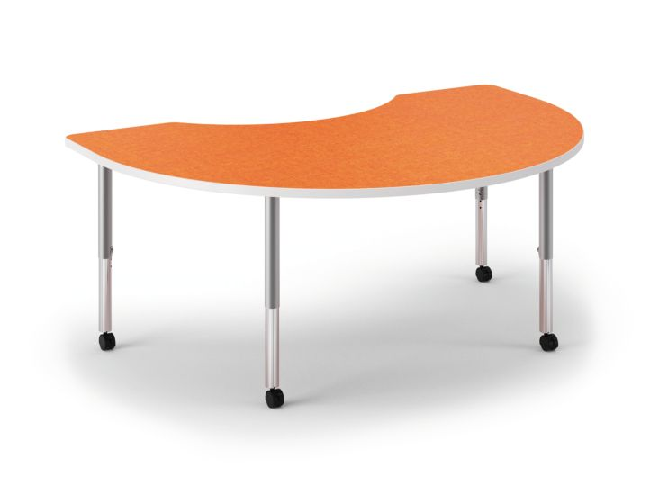 HON Build Arc Shape Table Patterned Tangerine Color Front Side View HESKD-7248E-4L.N.LTG1.WHIT.T1