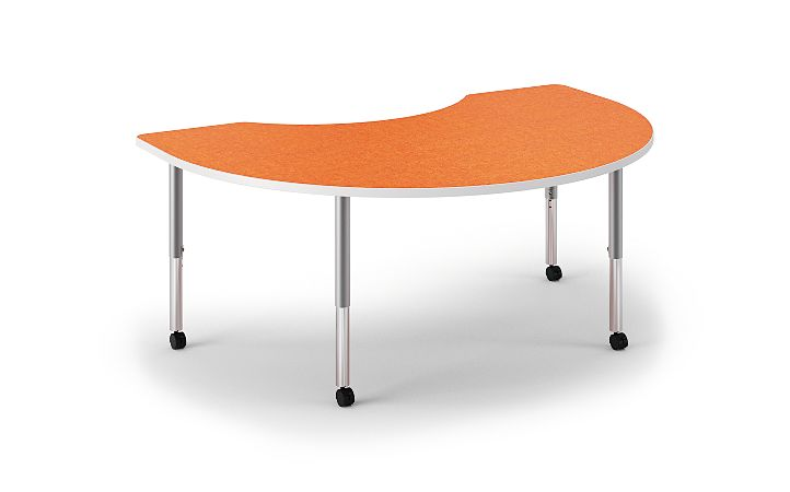 HON Build Arc Shape Table Patterned Tangerine Color Front Side View HESKD-7248E-4L.N.LTG1.WHIT.T1