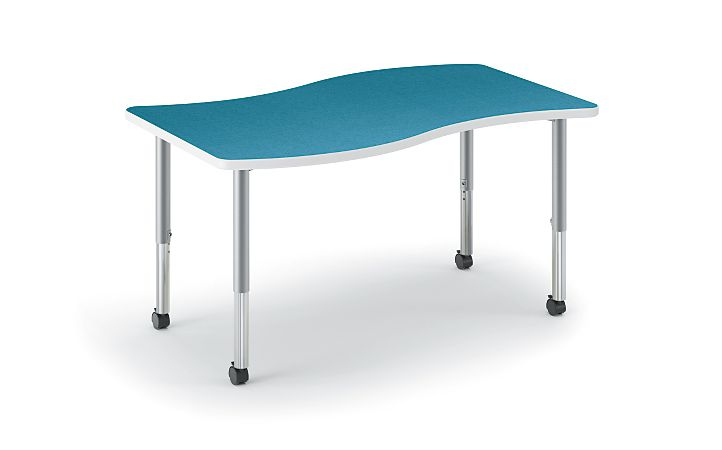 HON Build Ribbon-Shaped Table Blue Agave Front Side View HESW-3054E-4L.N.LBA1.K.T1
