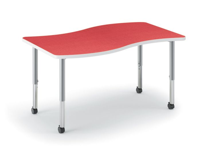 HON Build Ribbon-Shaped Table Pomegranate Front Side View HESW-3054E-4L.N.LBG1.K.T1