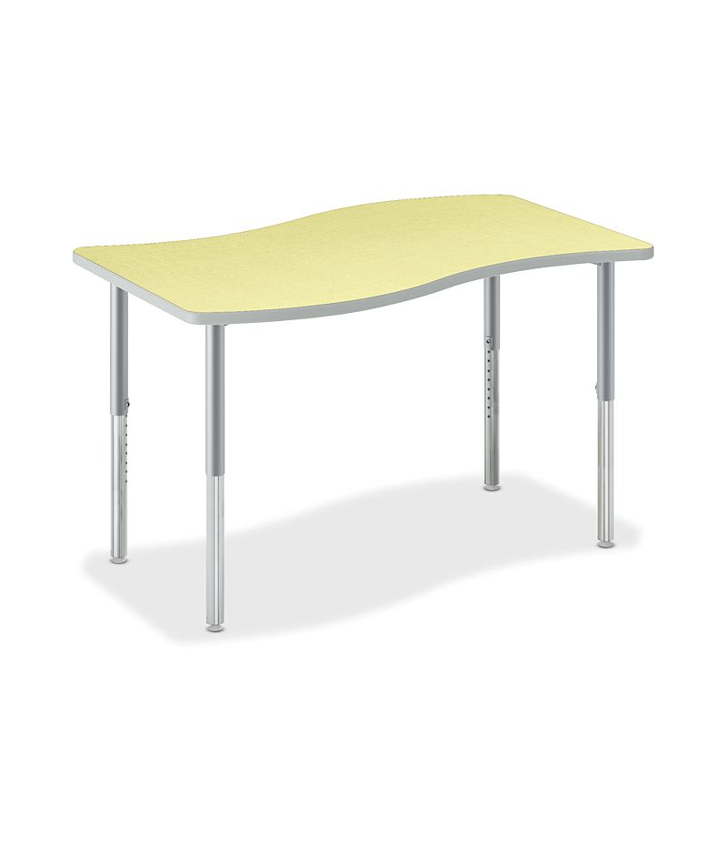 HON Build Ribbon-Shaped Table Kiwi Front Side View HESW-3054E-4L.N.LKW1.K.T1