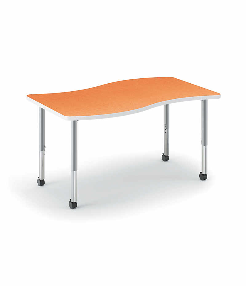 HON Build Ribbon-Shaped Table Tangerine Front Side View HESW-3054E-4L.