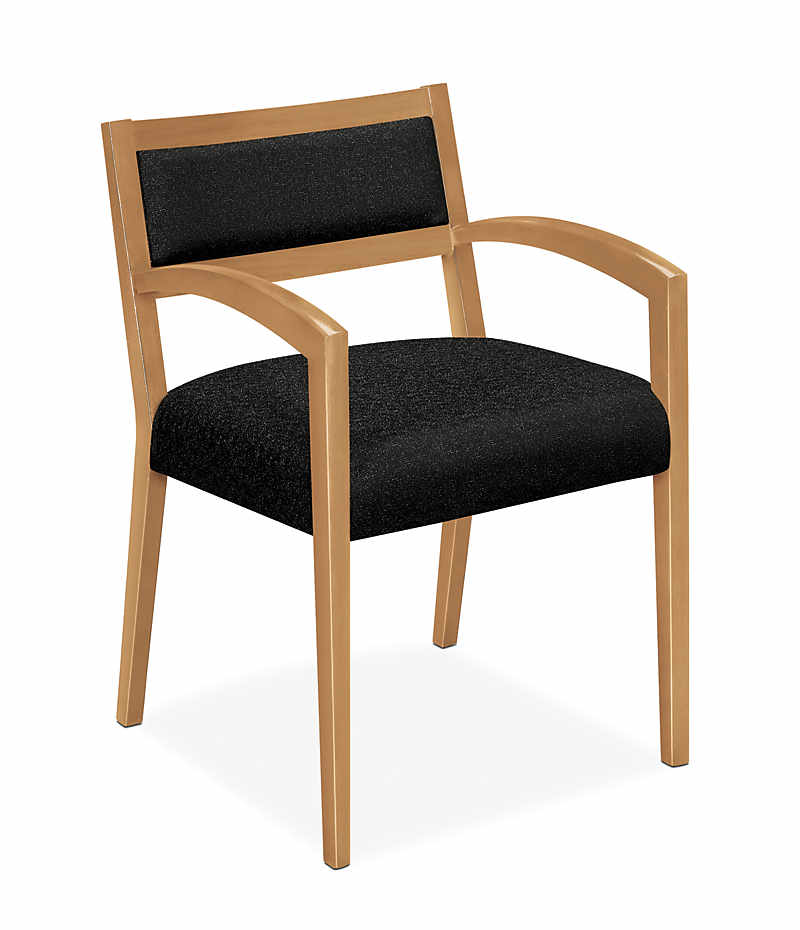 HON Cambia Upholstered Back Guest Chair Black Harvest Finish Front Side View H2164.C.BE11