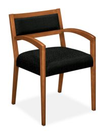 HON Cambia Upholstered Back Guest Chair Black Bourbon Cherry Finish Front Side View H2164.H.BE11