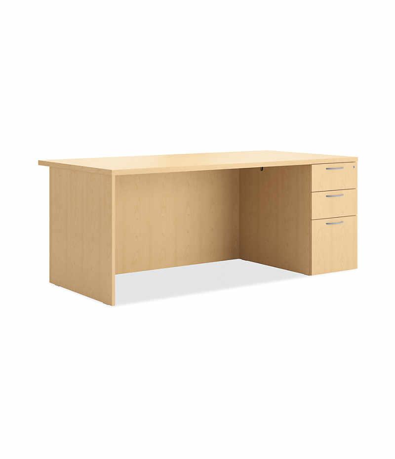 Hon Centerpiece Single Right Pedestal Desk Natural Maple Front Side View Hvpdro3672r 3ww G D X