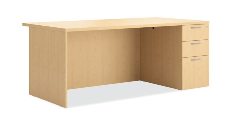 HON Centerpiece Single Right Pedestal Desk Natural Maple Front Side View HVPDRO3672R-3WW.G.D.X.D