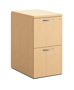 HON Centerpiece 2 File Drawers Pedestal Natural Maple Color Front Side View HVPMPW2415-2W.D.D