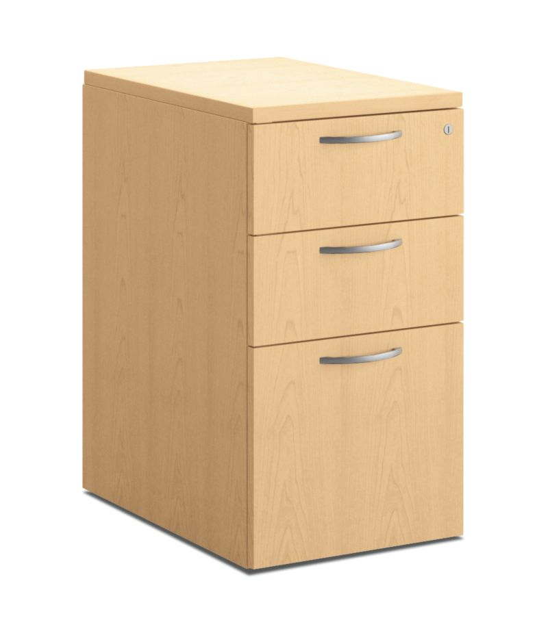 HON Centerpiece File Pedestal Natural Maple Front Side View HVPMPW2415-3W.D.D