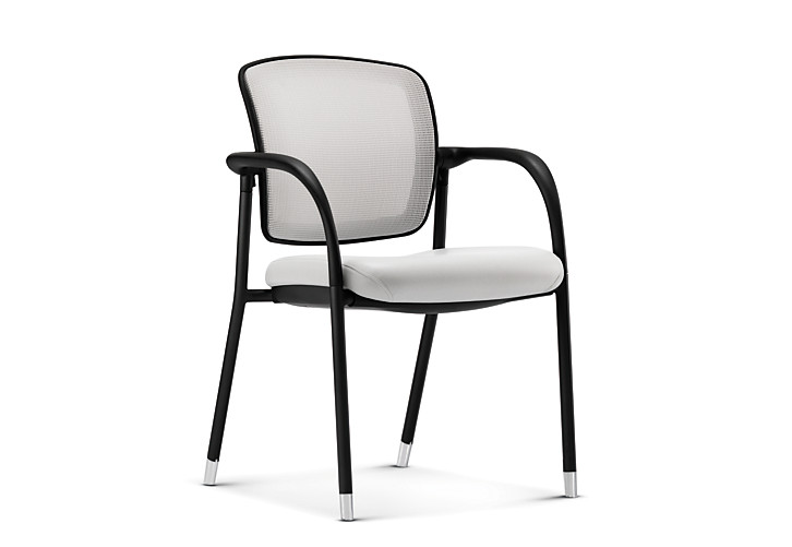 HON Ceres Multi Purpose Chair Mesh Back White Fixed Arms Front Side View HCG6.F.E.IF.RS30.BLCK