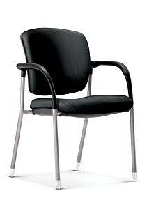 HON Ceres Multi Purpose Chair Black Leather Fixed Arms Front Side View HCG6.F.E.PB.SS11.PLAT