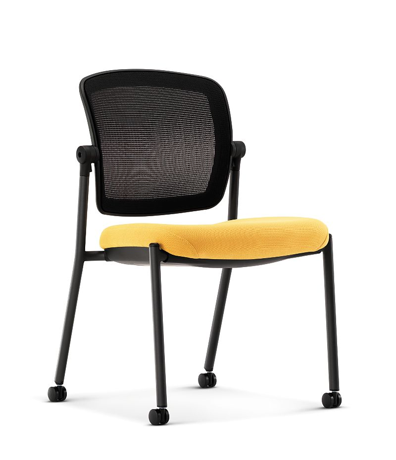 HON Ceres Multi Purpose Chair Yellow Mesh Back Armless Front Side View HCG6.N.A.IM.MD32.BLCK