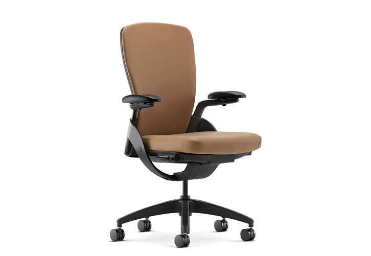 HON Ceres Mid-Back Task Chair Brown Adjustable Arms Upholstered Back Front Side View HCW1.ABLCK.H.PB.WP21.SB.T