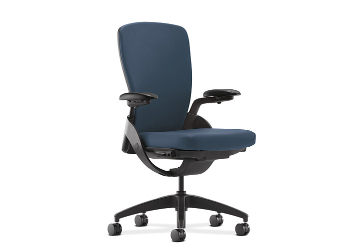 HON Ceres Mid-Back Task Chair Blue Adjustable Arms Upholstered Back Front Side View HCW1.AM.H.PB.SX05.SB.T