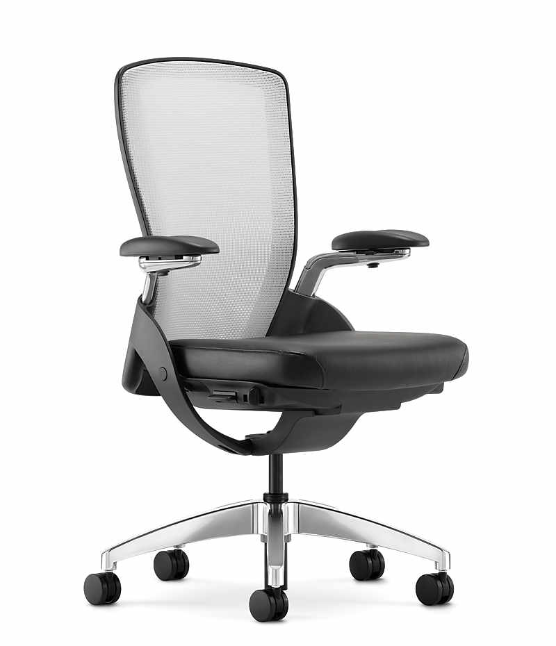 HON Ceres Mid Back Task Chair White Back Black Seat Adjustable Arms Mesh  Back Front