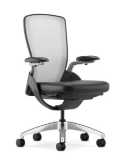 HON Ceres Mid-Back Task Chair White Back Black Seat Adjustable Arms Mesh Back Front Side View HCW1.APA.H.IF.SS11.PA.T