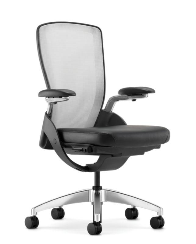HON Ceres Mid Back Task Chair White Back Black Seat Adjustable Arms Mesh  Back Front