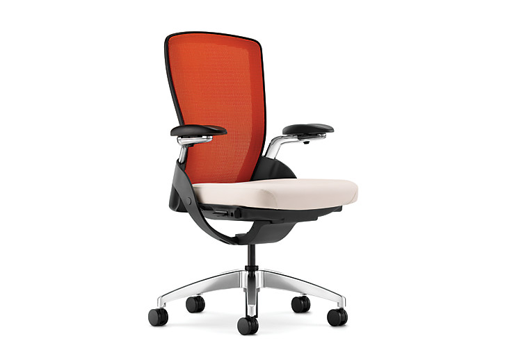 HON Ceres Mid-Back Task Chair Orange Back White Seat Adjustable Arms Mesh Back Front Side View HCW1.APA.H.IN.WP16.PA.T
