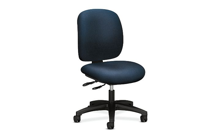 HON ComforTask Task Chair Classic Blue Armless Front Side View H5903.H.BK85.T