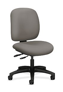 HON ComforTask Task Chair Polyurethane Taupe Armless Front Side View H5903.H.UR28.T