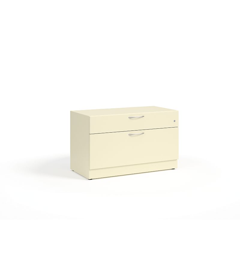 HON Contain Credenza with 1 Box / 1 Lateral Drawer Putty Front Side View HSCBX223618BFMA.T3.L