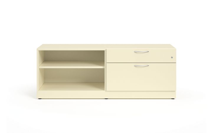 HON Contain Left-hand Credenza with 1 Box / 1 Lateral Drawer White Front View HSCBX226018LBFOMA.T3.L