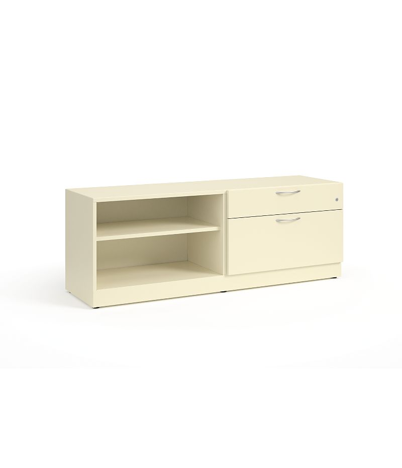 HON Contain Left-hand Credenza with 1 Box / 1 Lateral Drawer White Front Side View HSCBX226018LBFOMA.T3.L
