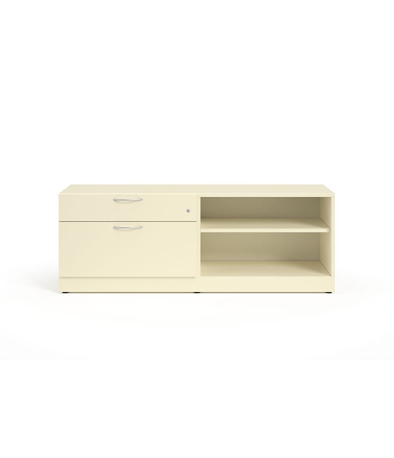 "HON Contain 60""W Right-hand Combo Credenza White Front View HSCBX226018RBFOMA.T3.L"