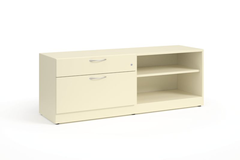 """HON Contain 60""""W Right-hand Combo Credenza White Front Side View HSCBX226018RBFOMA.T3.L"""